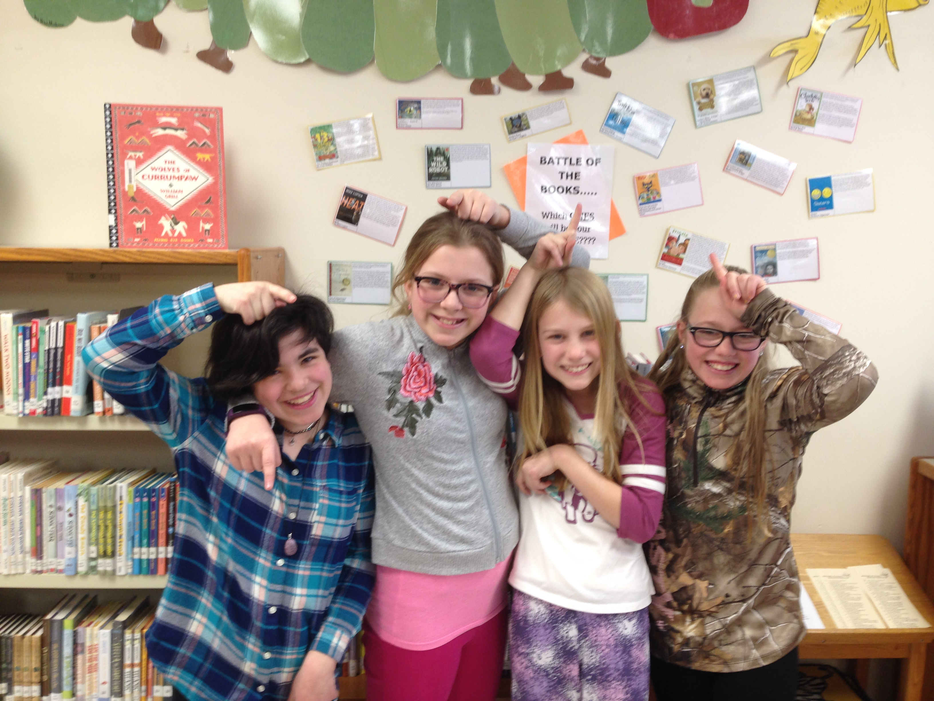 Battle of the Books Team - The Sparkling Unicorns, comprised of 5th graders Skylar, Ava,  Stella, and Isabel won the i4L Battle of the Books competition last week!  They also completed in the state battle as the representatives from i4L