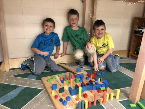 Students Building with Blocks