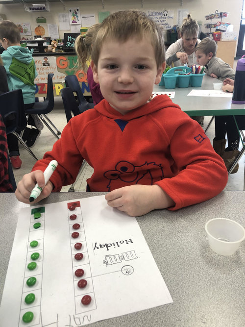 student graphing M&M's