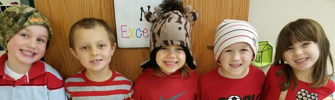 Students wearing fun hats for Dr. Seuss Day