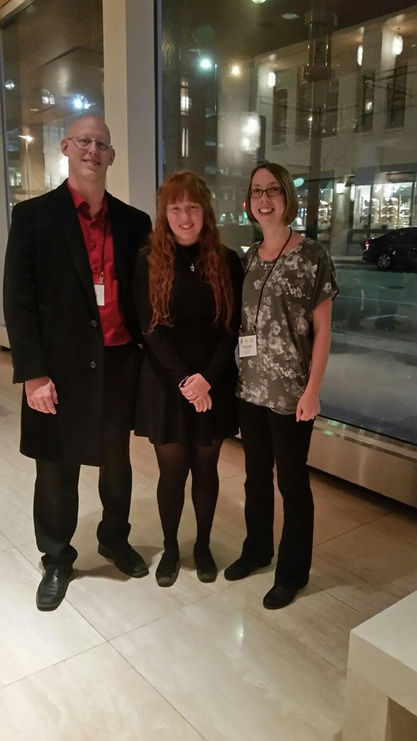 High school state orchestra participants, Lydia with Mr. Michlig and Mrs. Holmes