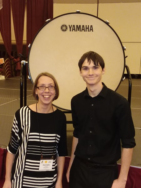 High school state orchestra participants, Thomas with Mrs. Holmes