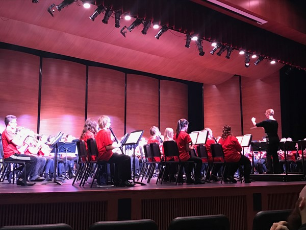 November 10, 2018 - Honors Band Concert - Mrs. Holmes is conducting a piece that she composed.